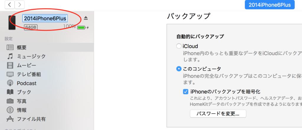 iTunes概要画面
