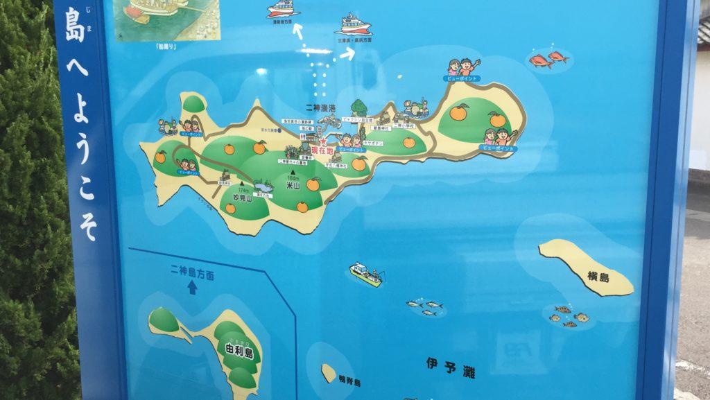 二神島 由利島の地図